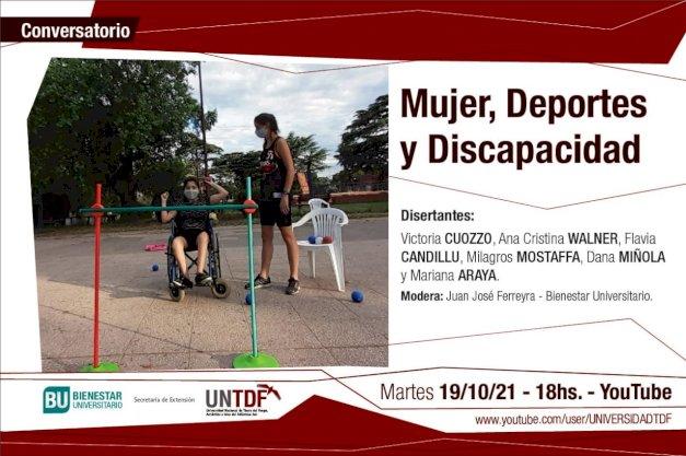 Descripción de la imagen: en la parte superior se la ve a Victoria Cuozzo con una persona con discapacidad en un espacio abierto en la parte inferior la descripción de este conversatorio.