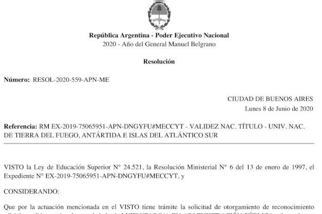 El Ministerio de Educación de la Nación aprobó la Licenciatura en Administración Pública de la UNTDF